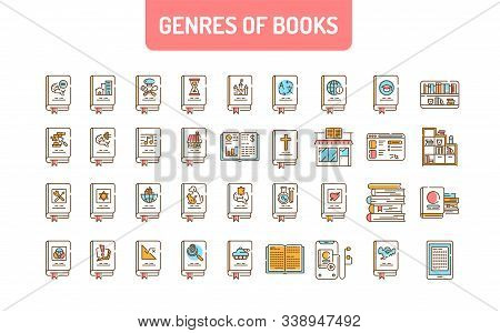 Genres Of Books Color Line Icons Set. Collection Of All Genres In Literature. Pictogram For Web Page