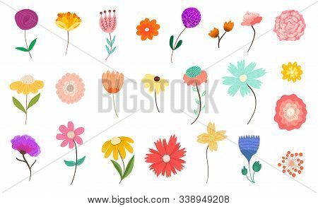 Collection Of Cute Hand Drawn Colorful Vector Flowers And Blossoms, Textured Plants. Big Vector Set