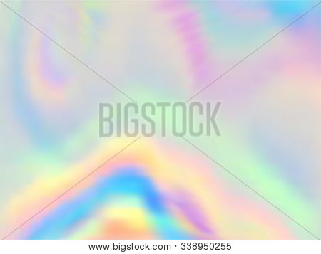 Hologram Effect Glitch Gradient Vector Design. Glowing Pastel Rainbow Unicorn Background. Hologram C