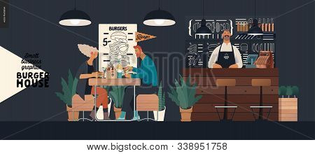 Burger House -small Business Graphics - Visitors And Bartender -modern Flat Vector Concept Illustrat