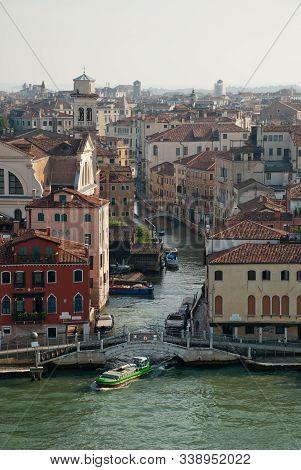 Venice Italy: Aerial View Of District Dorsoduro, Canal Rio De S. Trovaso