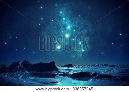 In Images Night Deep Dark Blue Starry Sky. Milky Way Stars Over Mountain Lake. Magic Scenic Landscap