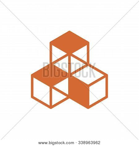 Three Cubes Vector Icon On White Background