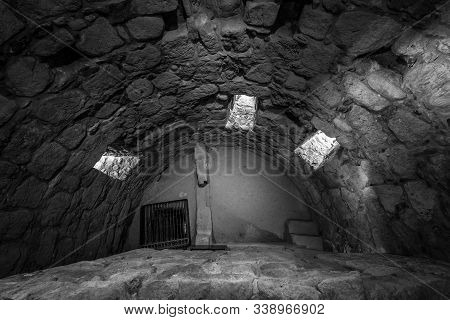 Inside A Medieval Watchtower. Black And White.