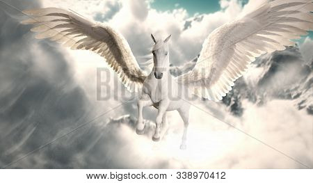 Flight Of The Pegasus. Majestic Pegasus Horse Flying High Above The Clouds And Snow Peaked Mountains