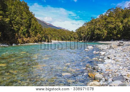 Blue Pools In Mount Aspiring National Park, South Island, New Zealand