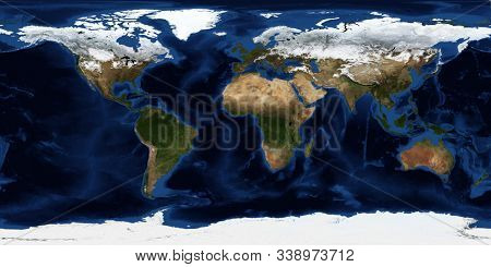 Winter world map. Aerial view. 3D rendering