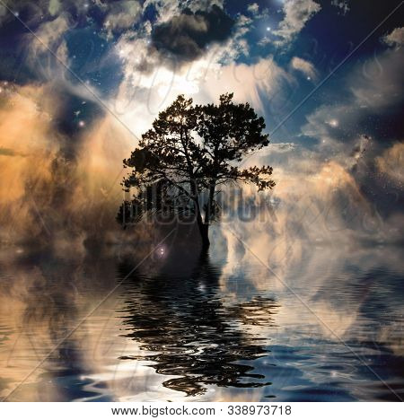 Ethereal landscape. Tree in rays of sun. 3D rendering
