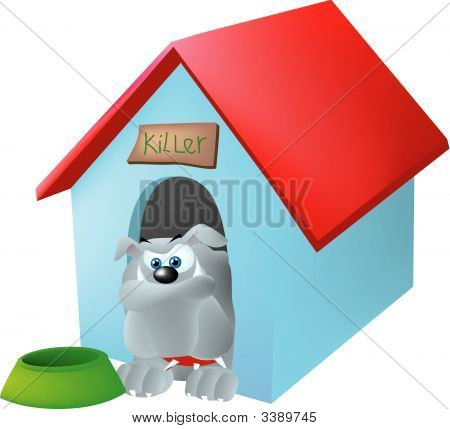 A bulldog sitting in his dog house with his bowl nearby. poster