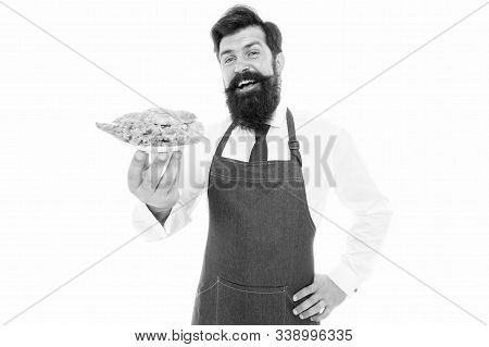 Enjoy Your Meal. Happy Cook Hold Cooked Meal. Bearded Man Smile With Sandwich. Snack And Meal Break.