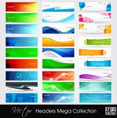 Colorful shiny banners or website headers with abstract wave and circle concept.EPS 10. Vector illustration. poster