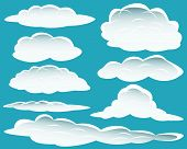 Set of different shape of clouds for design usage poster