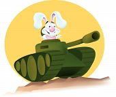 A bunny driving an army tank over a sand hill with a large sun in the background. poster
