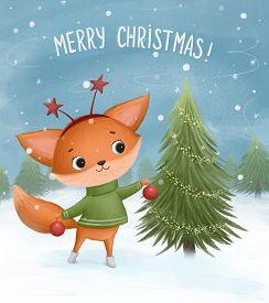 Little Fox Decorates A Christmas Tree. Hand Drawn Illustration