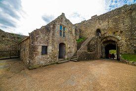 Carisbrooke, Isle Of Wight, United Kingdom - April 15 2017: English Heritage Carisbrooke Castle On T