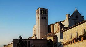 Assisi, Italy - January 4, 2015: Basilica Of Saint Francis Of Assisi, A World-famous Catholic Cathed