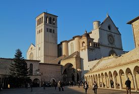 Assisi, Italy - January 4, 2015: Tourists Visit Basilica Of Saint Francis Of Assisi At Christmastime