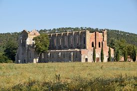 The Spectacular Ruins Of The Ancient Basilica Of San Galgano In The Province Of Siena - Italy