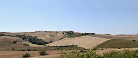 Overview Of The Rolling Sienese Hills In Tuscany-italy