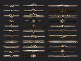 Golden Art Deco Dividers. Vintage Gold Ornaments, Decorative Divider And 1920s Header Ornament. Vict