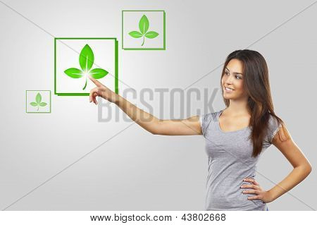 Young Woman Pointing Recycle Symbol Over White Background