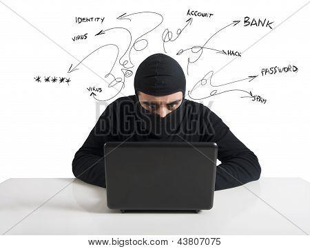 Hacker en Computer Virus Concept