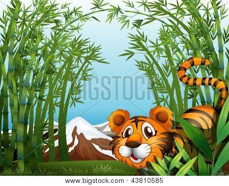 Abbildung von einem Bambus-Wald mit einem tiger