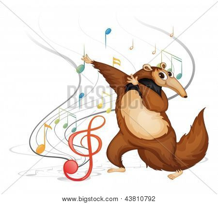 Illustration of the dancing four-legged animal on a white background