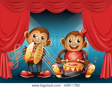 Illustration of the two monkeys performing at the stage