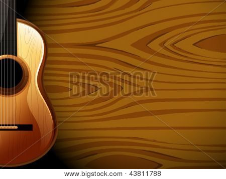 Illustration of a guitar beside a wood-colored wall