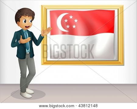 Illustration of a boy pointing at the Singaporean flag