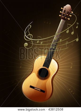 Illustration of a brown guitar with musical notes