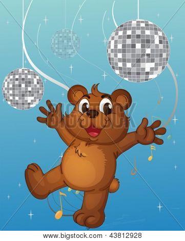Illustration of a baby bear dancing