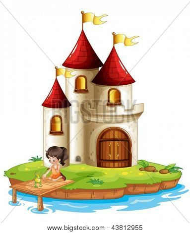 Illustration of a girl and a frog at the bridge in front of a big castle on a white background