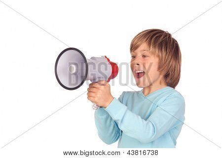 Portrait of adorable child with a megaphone isolated on a over white background