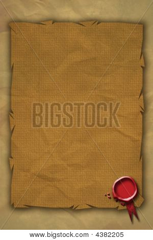 A Red Wax Seal located bottom right on a grunge parchment styled paper background. poster