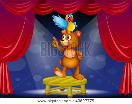 Illustration of a bear and a parrot in the circus