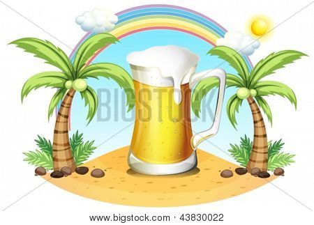 Illustration of a giant mug of beer near the coconut trees on a white background