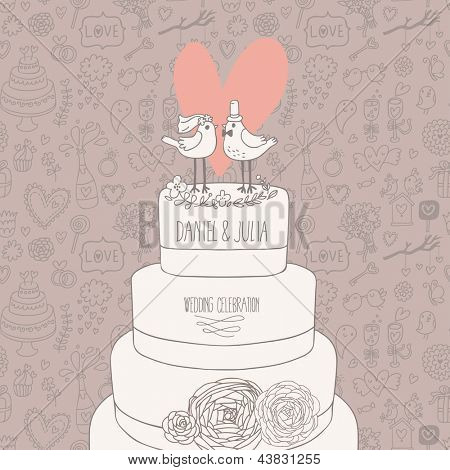 Stylish wedding invitation. Romantic birds on the cake. Save the date concept illustration. Sentimental vector card in pastel colors