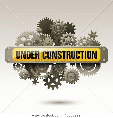 Under construction sign with gears, eps10 vector