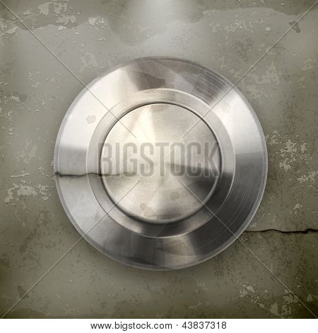 Metal button, old-style vector