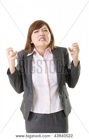 Angry business woman of Asian, closeup portrait isolated on white background.