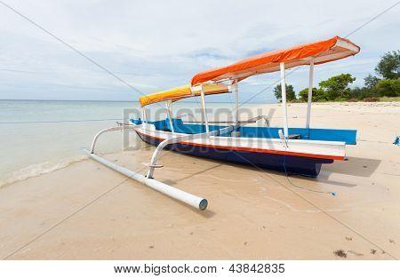 Fishing boat in bay on Gili Air island of Bali, Indonesia