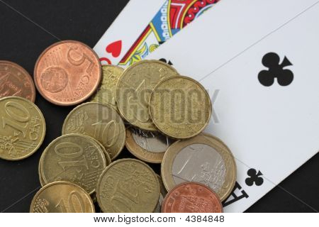 Euros And Playing Cards