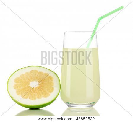 Delicious sweetie juice in glass and sweetie next to it isolated on white