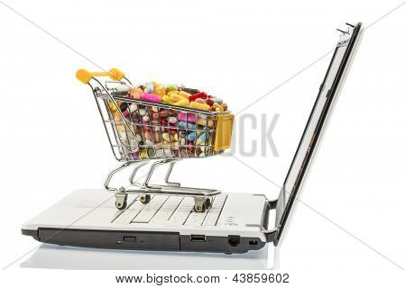 tablets with cart and computer. symbolic photo for the purchase of medicines on the internet