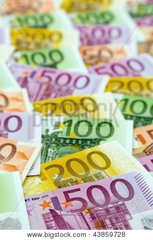 many euro banknotes. symbolic photo for wealth and investment