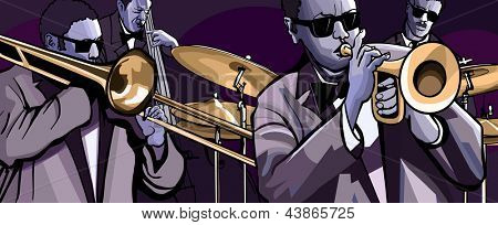 Vector illustration of a jazz band with trombone trumpet double bass and drum poster
