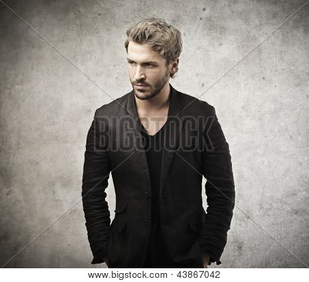 handsome man dressed in black jacket