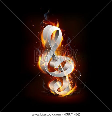illustration of fiery music note with flame